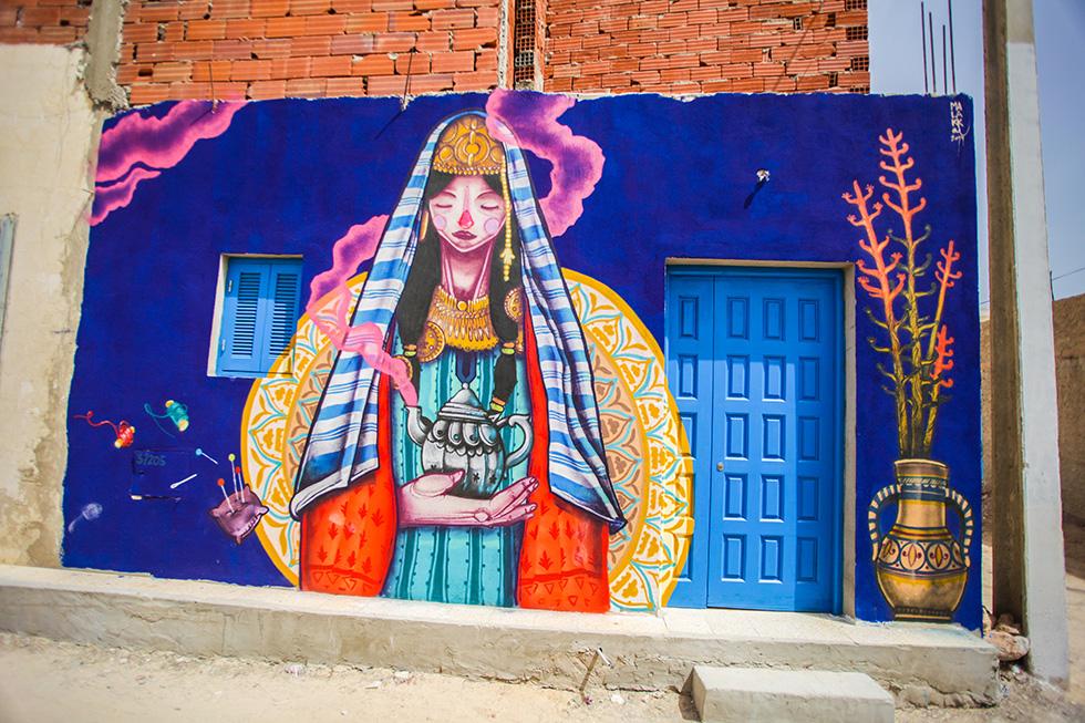 Er-Riadh Street Art Project Tunisia - Woman