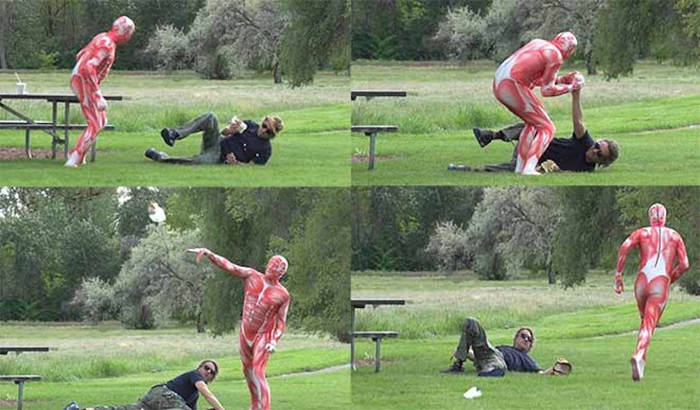 Guy Human Meat Suit Attacks Guy With Burger