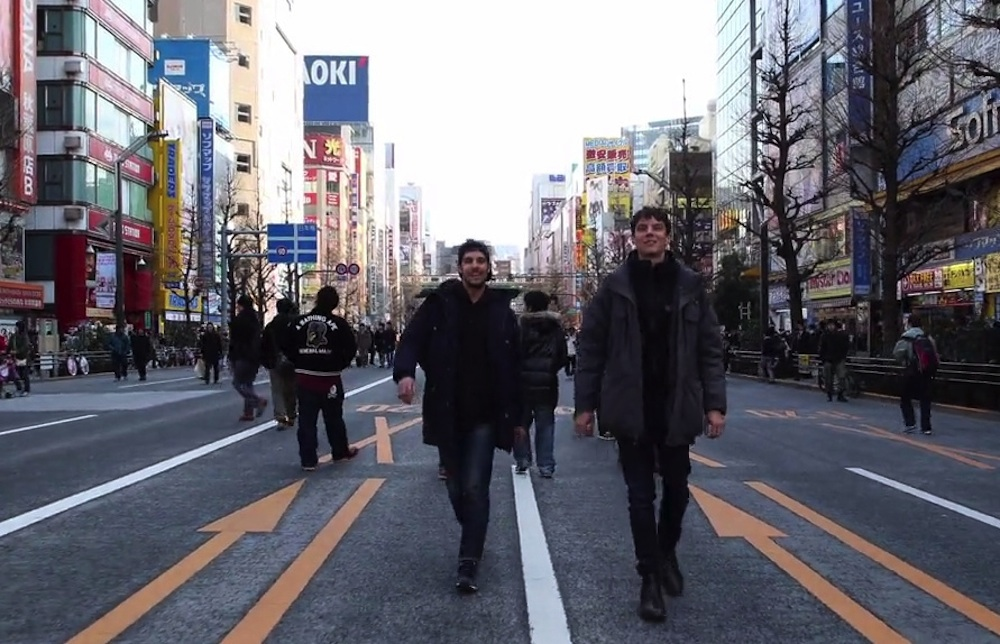 Guy Walks Around Backwards Around Tokyo