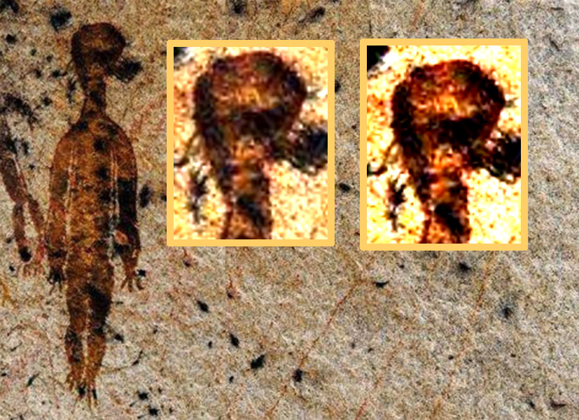 Indian UFO Alien Encounter Cave Painting 2