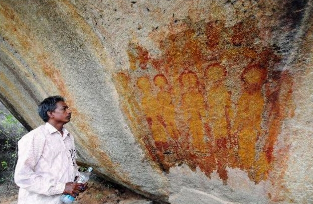 Indian UFO Alien Encounter Cave Painting