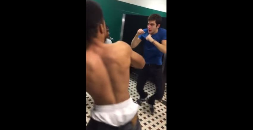 Dude Gets Jumped By Four Guys In Bathroom And Impressively