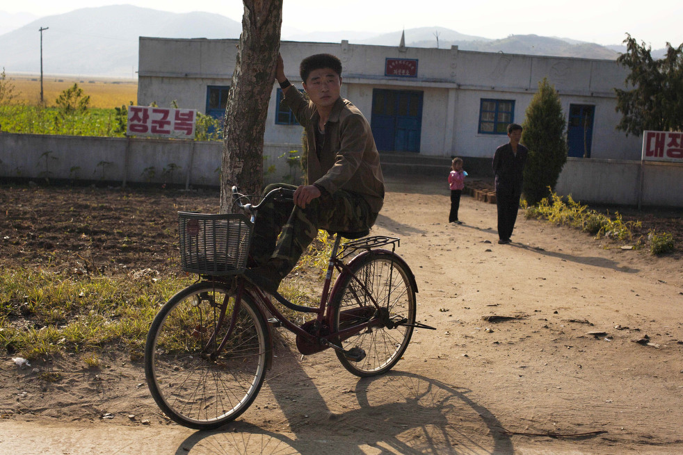 Rural North Korea - Man On Bike