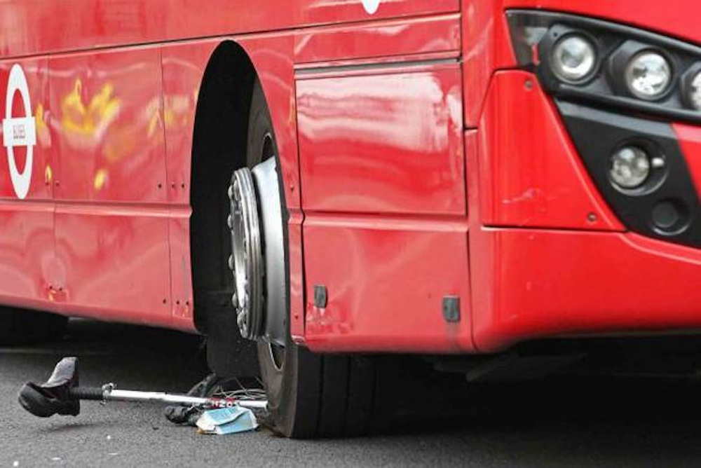 Unicyclist Run Over By Bus