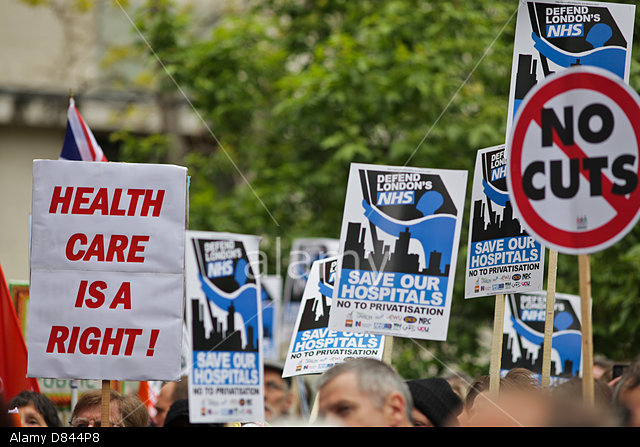 London, UK. 18th May, 2015. Protesters march from Jubilee Gardens to Downing Street to protest cuts to the National Health Service. Credit: Rob Pinney/Alamy Live News