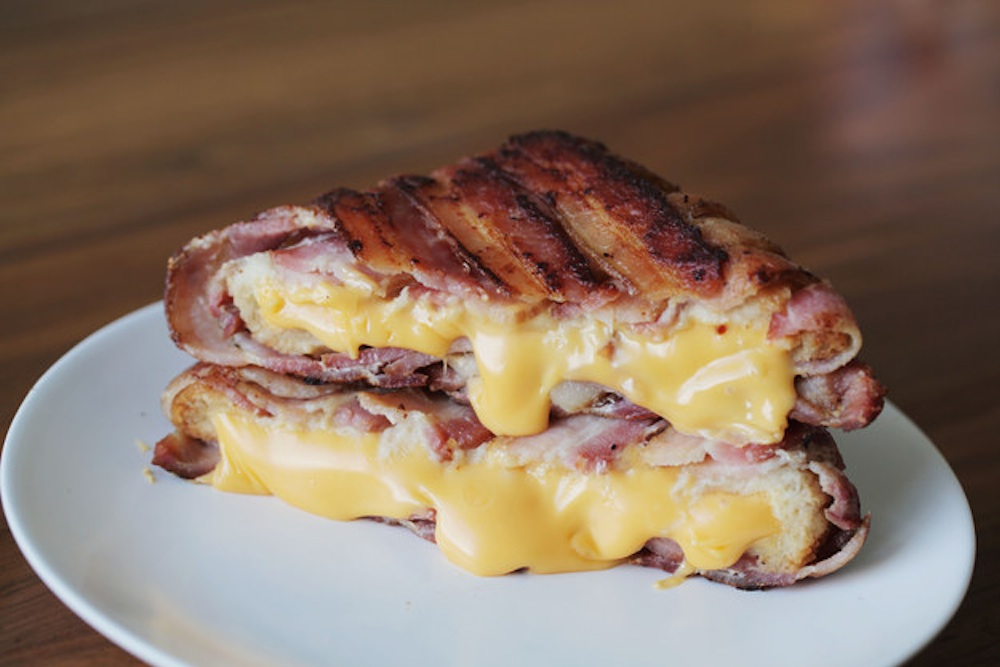 Bacon Wrapped Grilled Cheese Sandwich