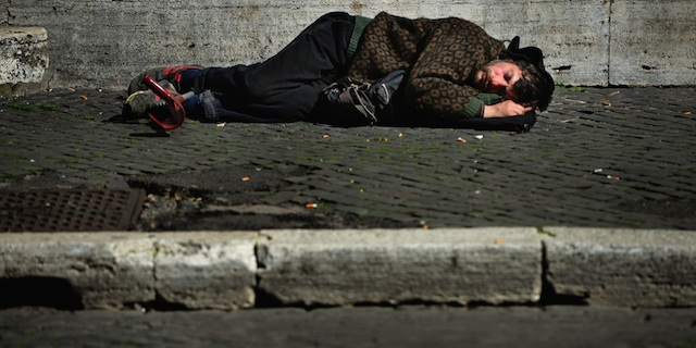 Homeless Sleeping On Street