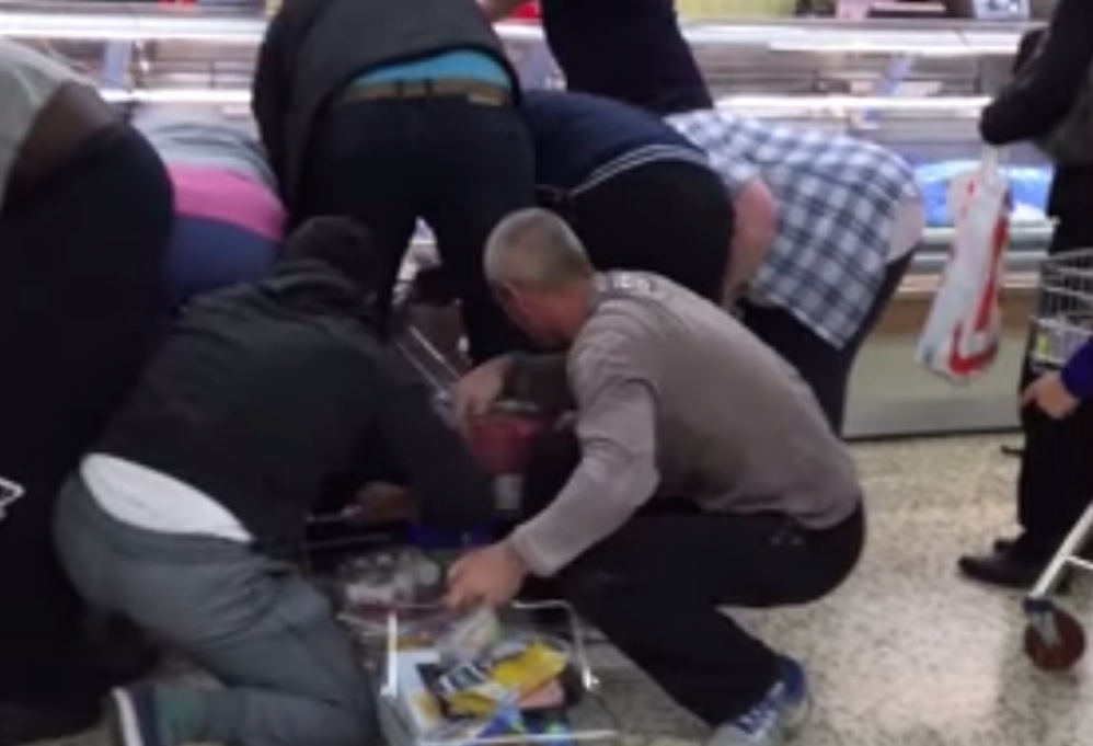 Shoppers Wrestle For Meat