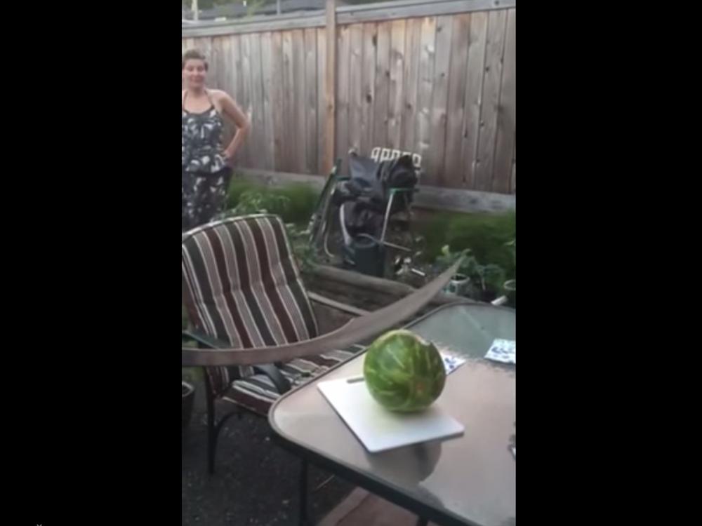 Ali Cuts Watermelon With Scimitar Smashes Table