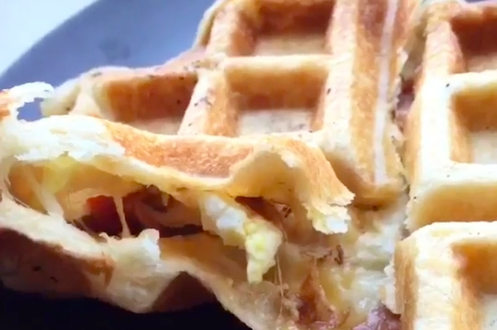 Cheese Bacon Egg Biscuit Waffles