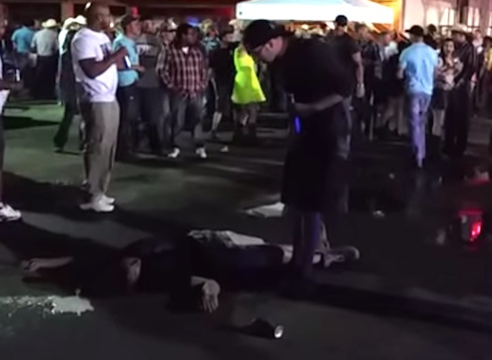 Guy Knocks Guy Throwing Glass Bottles Out