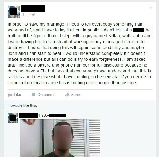 Husband Forces Cheating Wife Come Clean Facebook Status