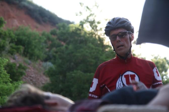 Longboarding Cyclist