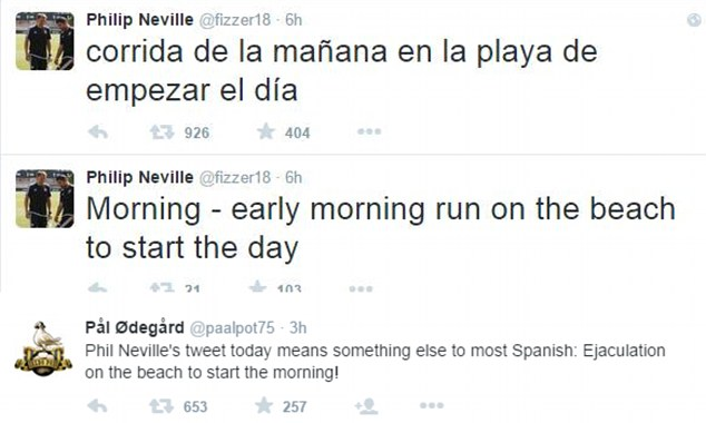 Phil Neville Twitter Embarassment