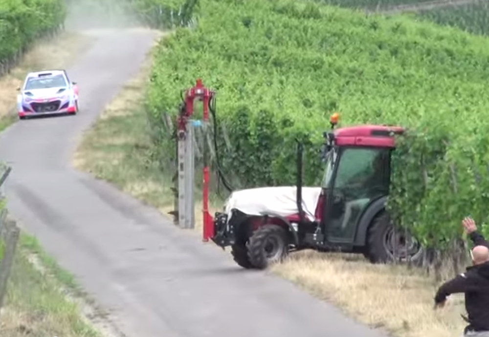 Rally Driver Nearly Hits Tractor - Germany