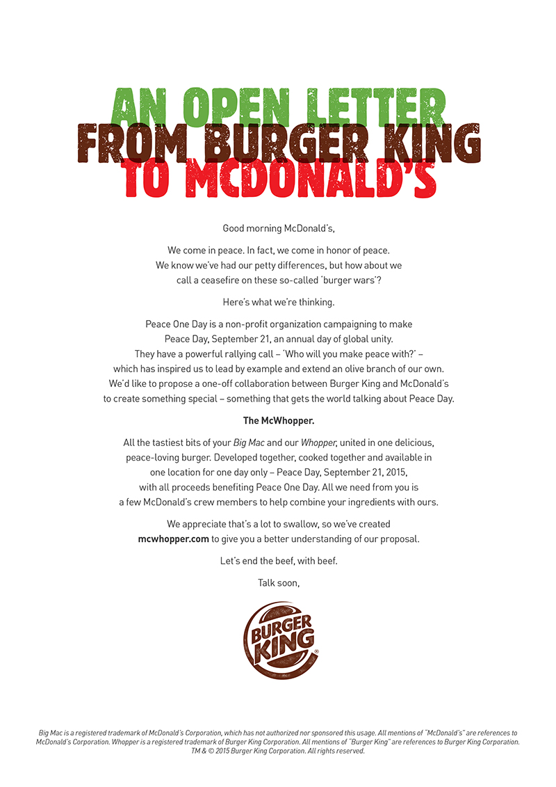 complaint letter to burger king Dear burger king, inspiration for a good cause great idea we love the intention but think our two brands could do something bigger to make a.