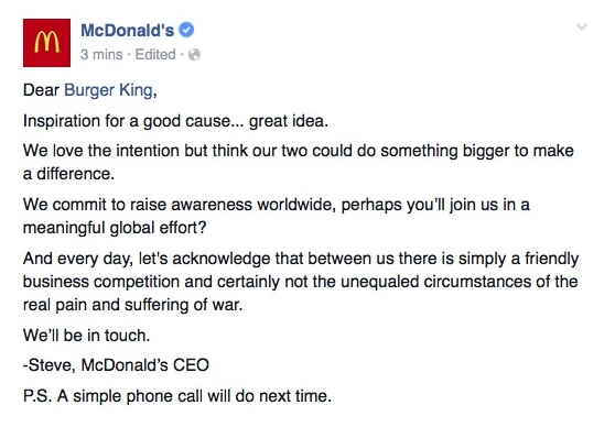 Burger King Writes Open Letter To McDonald's Asking For A Truce ...
