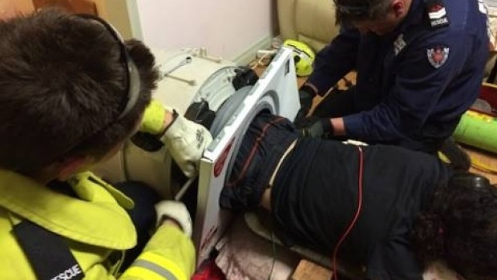 Man Rescued Trapped Washing Machine