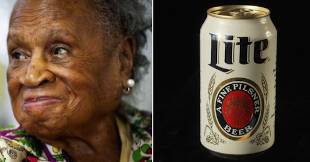 Oldest Woman Drinking Miller High Lifes
