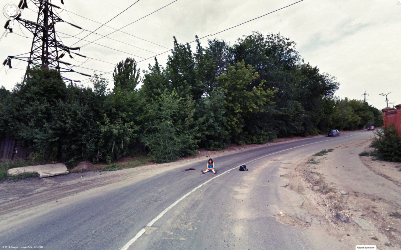 Weird Google Street View - Abandoned Woman
