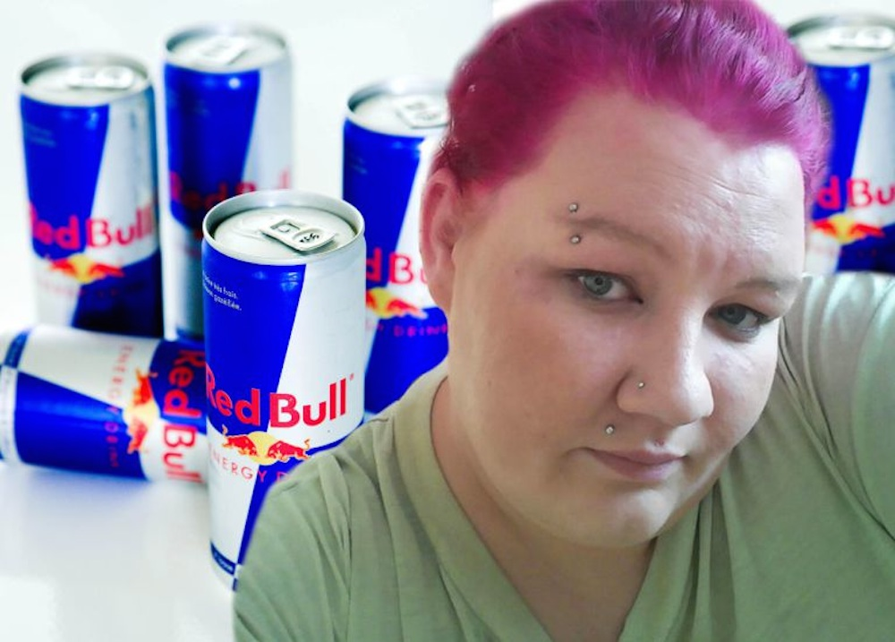 Woman going Blind Drinking Red Bull