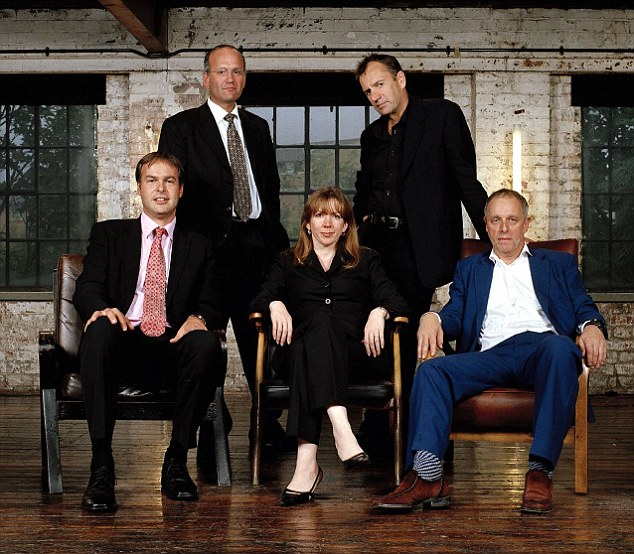 Picture Shows: l-r: Peter Jones, Doug Richard, Rachel Elnaugh, Duncan Bannatyne and Simon Woodruffe Tx: BBC Two, Tuesday 11th January 2005 Warning: Use of this copyright image is subject to Terms of Use of BBC Digital Picture Service. In particular, this image may only be used during the publicity period for the purpose of publicising Dragon's Den and provided the BBC is credited. Any use of this image on the internet or for any other purpose whatsoever, including advertising or other commercial uses, requires the prior written approval of the BBC.