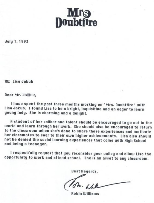 Robin Williams Mrs Doubtfire Letter