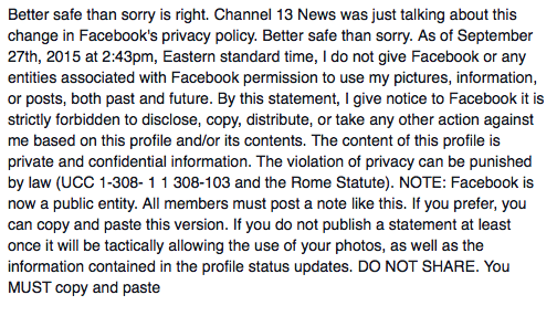 Facebook Privacy Policy Update Status