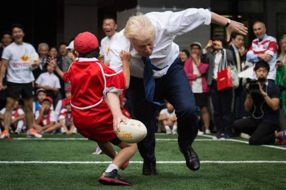 Boris Johnson Rugby Tackles Kid