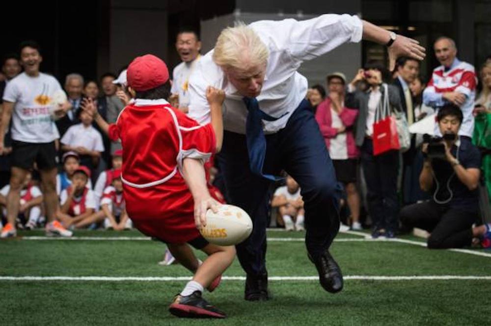 Boris Johnson Rugby Tackles Kid