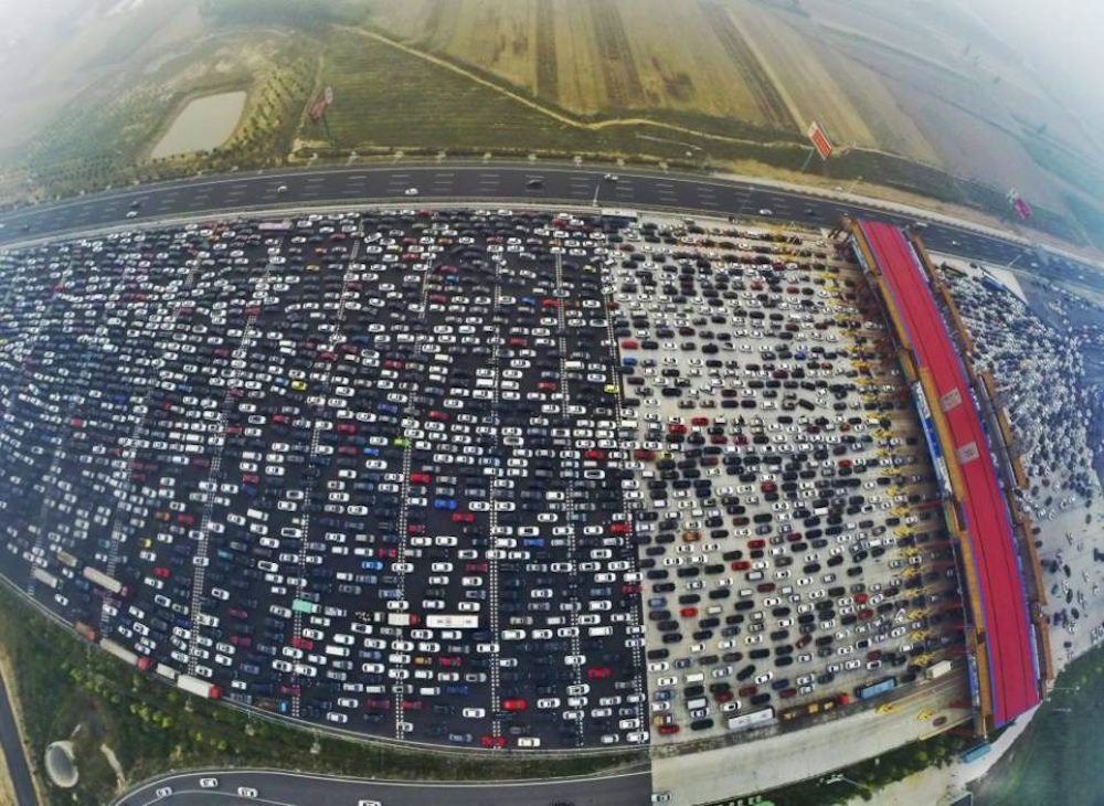 Chinese 50 Lane Traffic Jam