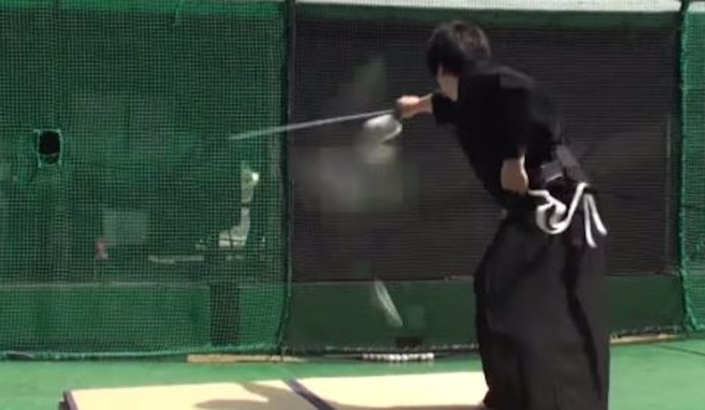 Japanese Samurai Slices Baseball