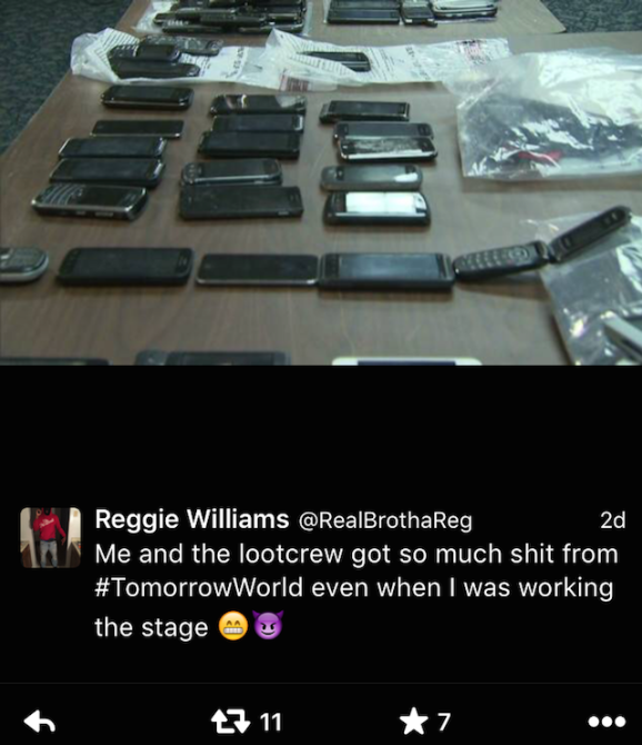 TomorrowWorld Festival Stolen Phones 1