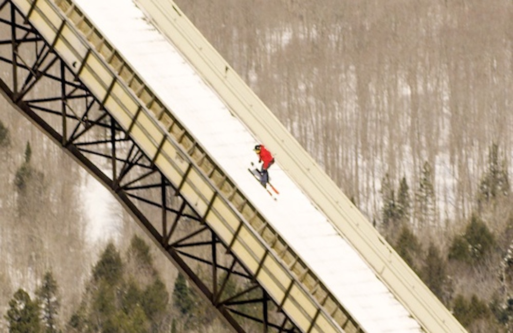 Sammy Carlson 24 Storey Skiing Backwards