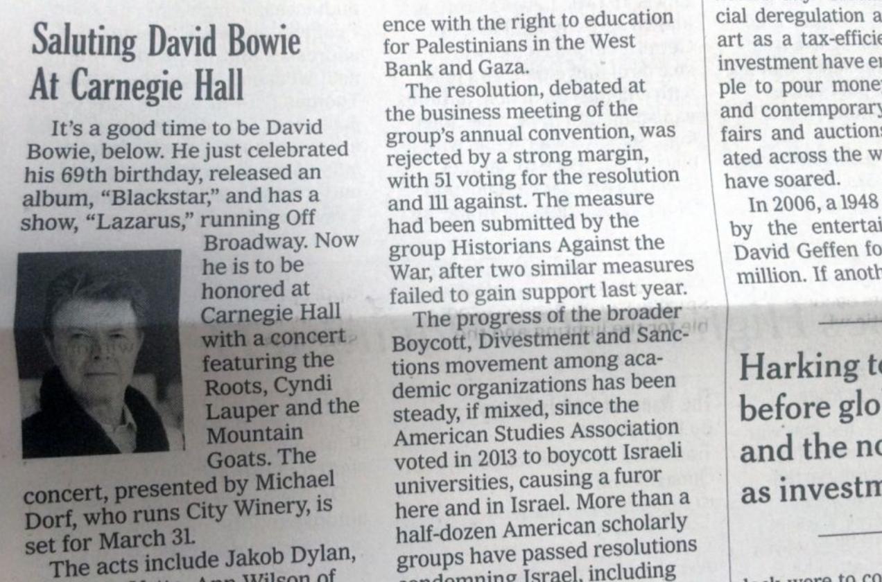 New York Times David Bowie