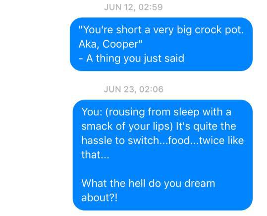Sleep Talking Texts 9