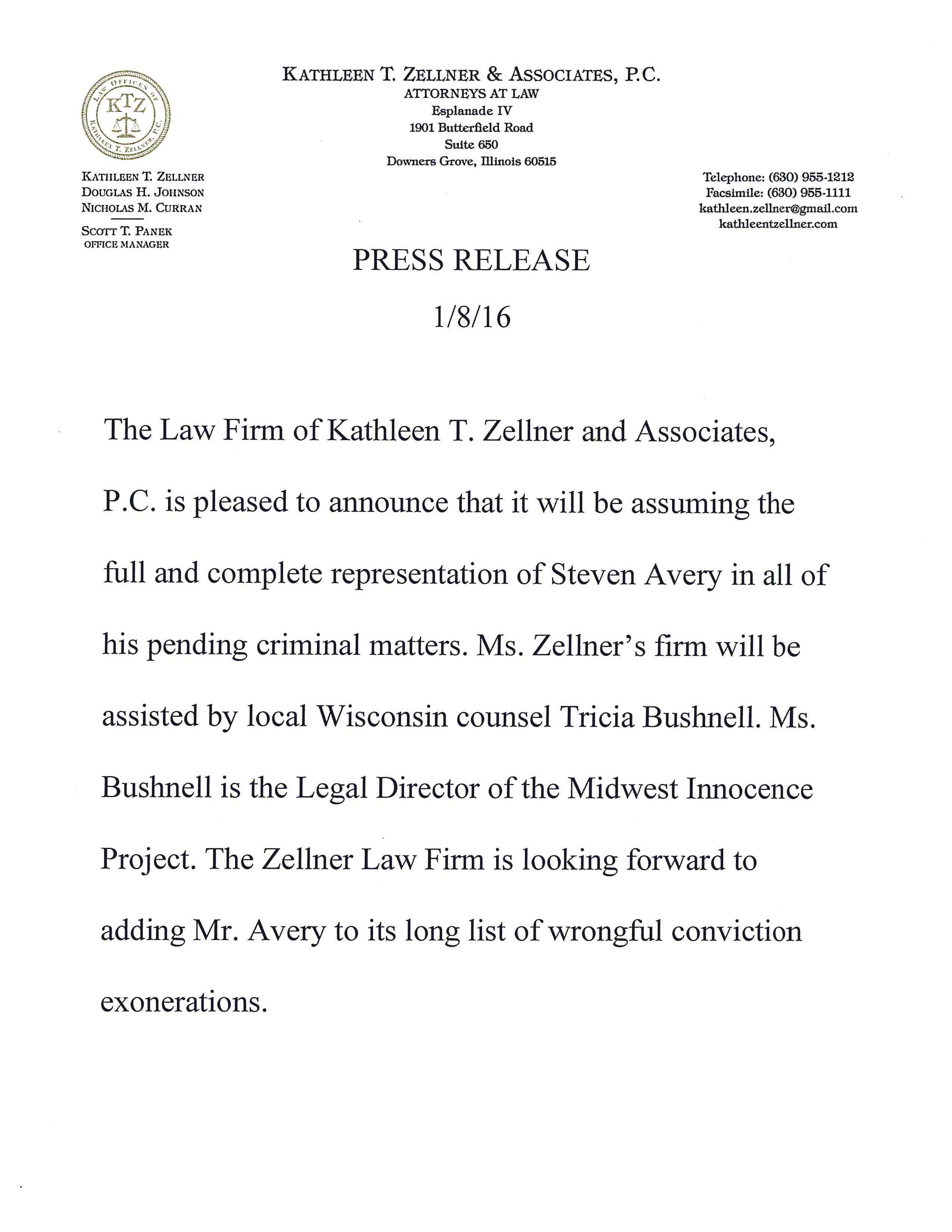 Zellner Press Release