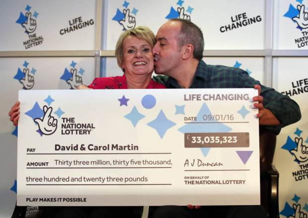 David and Carol Martin, a husband and wife from Hawick in the Scottish Borders, celebrate at the Dalmahoy Hotel & Country Club in Edinburgh after winning half of the historic £66 million Lotto jackpot. PRESS ASSOCIATION Photo. Picture date: Wednesday January 13, 2016. The rollover Lotto prize was split between two tickets that had all six winning numbers from Saturday's draw - 26, 27, 46, 47, 52 and 58. See PA story LOTTERY Winners. Photo credit should read: Andrew Milligan/PA Wire