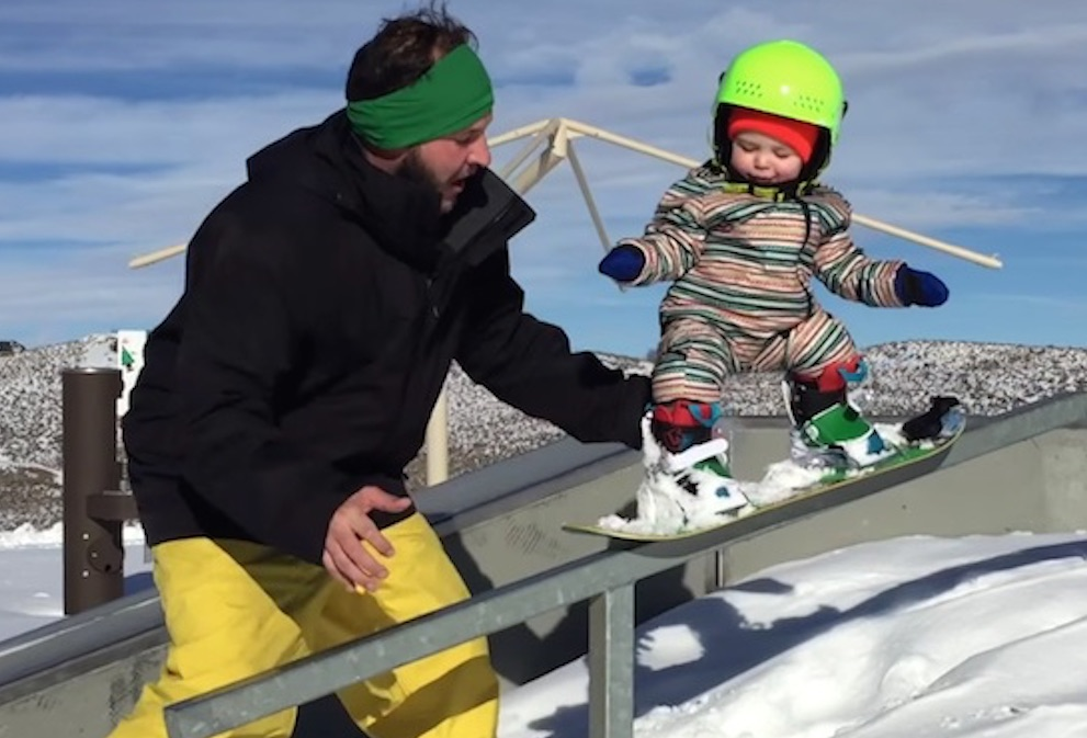 14 Month Old Baby Shreds Snowboard