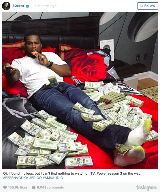 50 Cent bed of cash