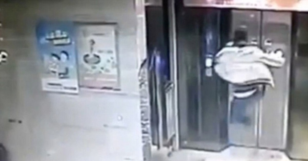 Chinese Man Flying Kick Elevator
