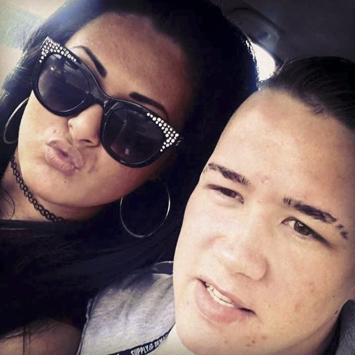 Facebook pictures of Damon Searson with Terri-Marie Palmer. A jealous hairdresser stabbed her boyfriend to death after she lost her temper with him for spending too much time on his new mobile phone trawling for friends on Facebook. Terri-Marie Palmer, 23, posted a moaning message of her own on the social media site saying: ''He p***es me off sitting on Facebook, completely blanking me when Iím talking to him.'' Moments later the fiery redhead and snapped and plunged a bread knife into the heart of jobless Damon Searson as he checked his messages at their shared caravan in Heysham, Lancs.