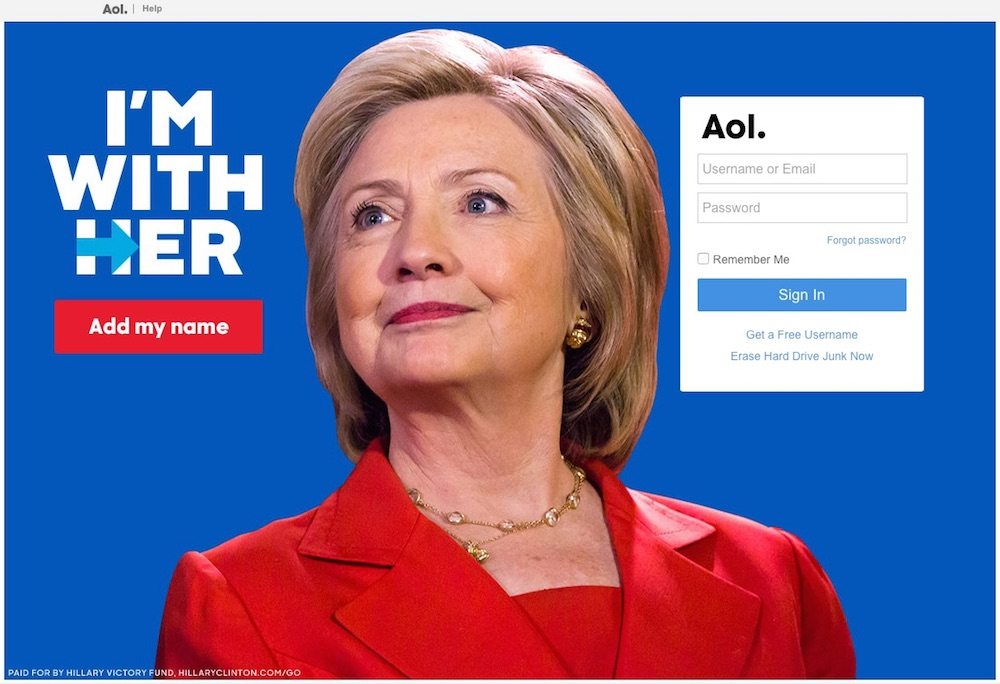 Hillary Clinton AOL Advert