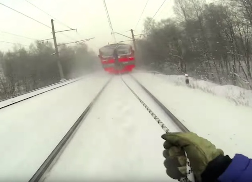 Russian Skis Train Tracks