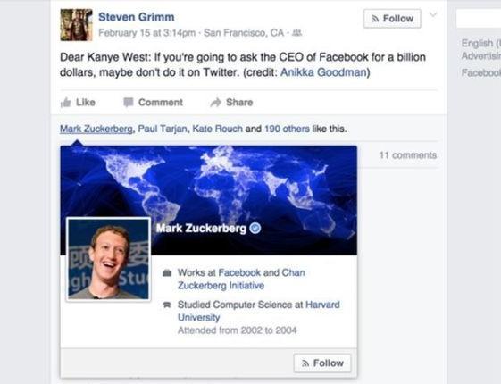 Mark Zuckerberg Likes Kanye Burn