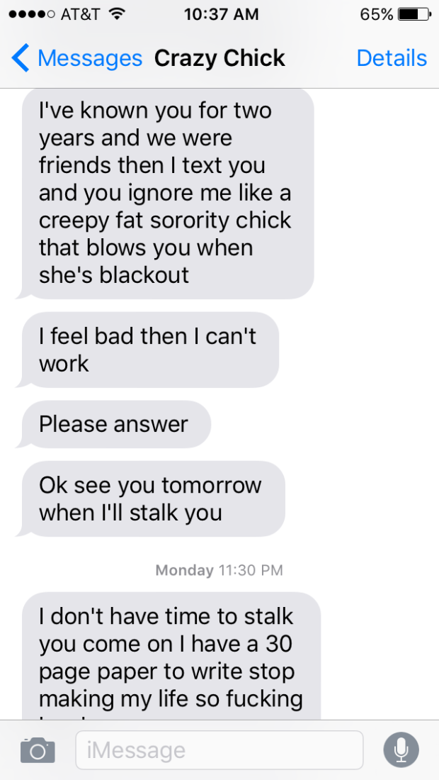 Girl Goes On Absolutely Insane Text Rant When Guy Refuses To