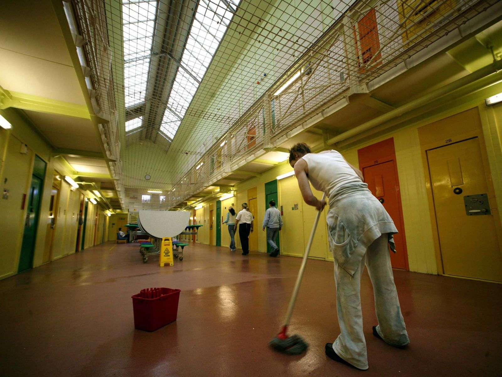 Mopping floors in jail