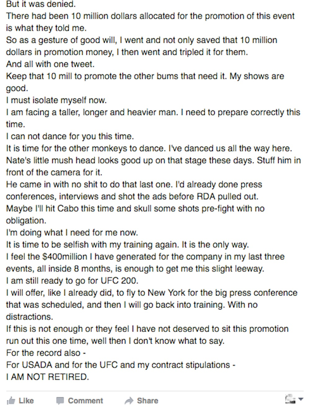 Conor McGregor post