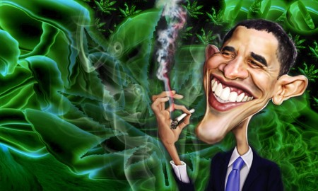 Obama Charicature Smoking Weed