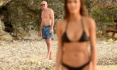 Old Guy Perving Girl High Powered Lens